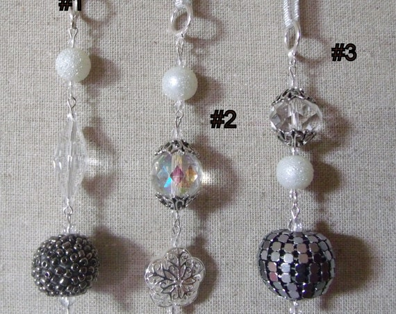 Crystal icicle ornament - metallic tree hangers - silver accents -  festive Christmas gift  - elegant holiday favors - snowball beads