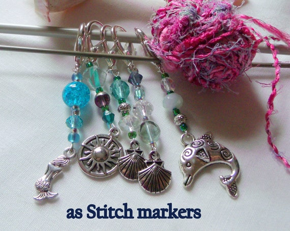 Aqua ocean themed zipper pulls - dolphin hand bag  gift - Stitch markers for knitting and crochet - shells - mermaid - journal charm