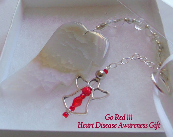 Heart disease awareness gift - wing ornament - hospital stay - get well - custom heart memento - Go red - support warriors - Heart surgeon