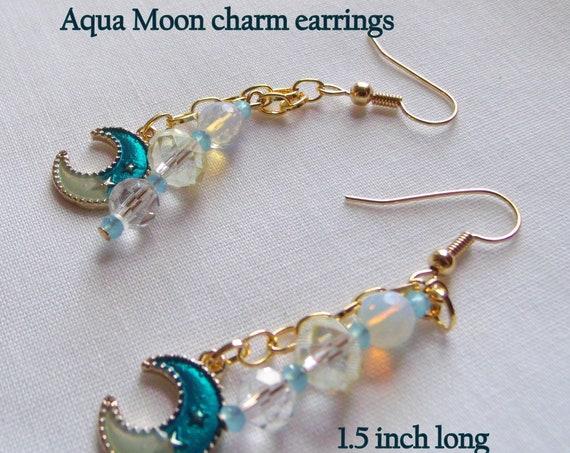 Green patina earrings - heart charm earrings - southwest inspired jewelry - feather tassels - gold and aqua moon earrings - celestial