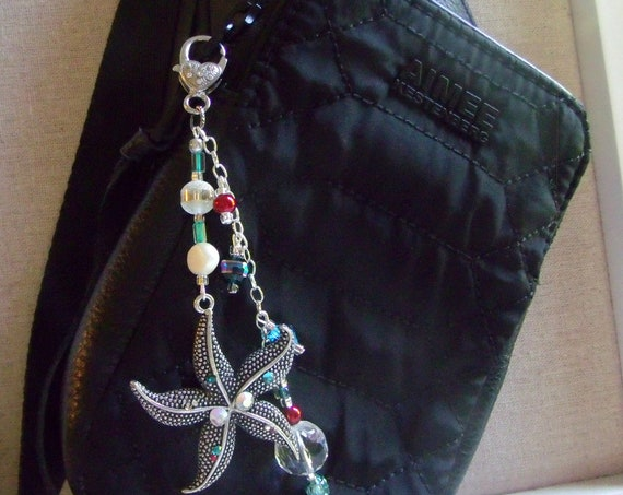 Starfish bag charm - aqua ocean gift - summer birthday - large starfish with rhinestones - red pearl beaded purse charm - beach journal