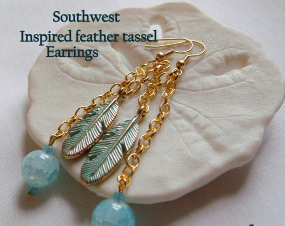 Green patina earrings - heart charm earrings - southwest inspired jewelry - feather tassels - gold and aqua moon earrings - celestial