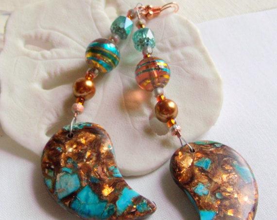 Long leaf gem earrings - aqua bronze earrings - long pearl earrings - boho style - light weight - bold dangle earrings - swirl bead earrings