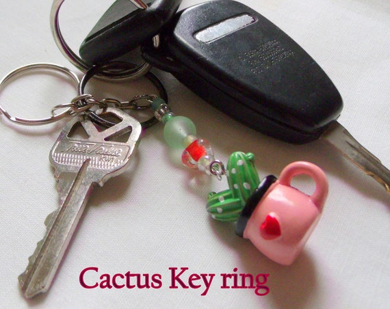 Cactus zipper pull - key ring with succulent plant -  Cute Cactus lover gift - for the Cactus club - pink potted plant clip - Botanical gift