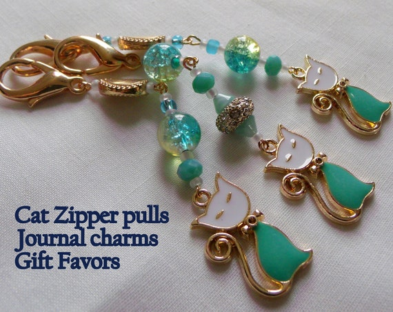 French cat zipper pull - Goldtone katzen charm - aqua beads - teardrop gold  - crystal beads - enamel  cat - purse clip - party favors
