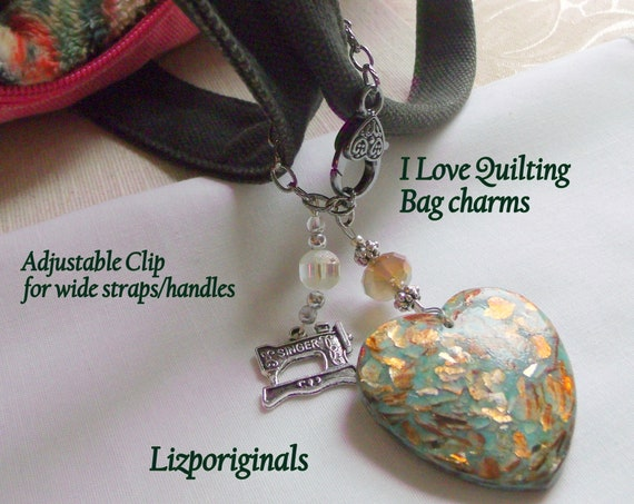 Quilt bag charm - I love Quilting - sewing group - adjustable agate heart clips - for projects - tote - gift for women - jasper zipper pull