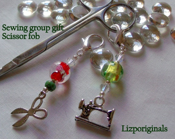 Quilting charms - Quilt add on gifts - zipper pull - scissor minder - sewing group gift -  ring - ribbon - scissor fob - Quilting bee