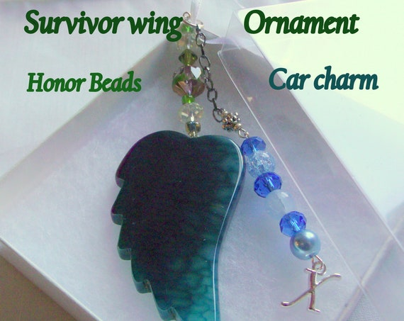 Support mental health - Out of the darkness walk - angel wing Ornament - agate car charm - awareness gift - Survivor beads - against Suicide