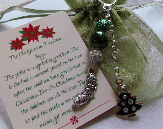 Deluxe Pickle ornament - tassel style - Christmas tree charm - mini tree decorations - unique pickle lovers gift idea - stocking stuffers