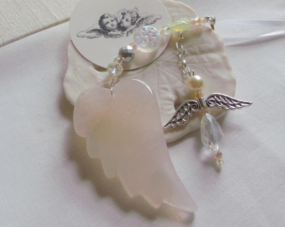 Memory grief gift - Custom Sympathy memento - angel wing ornament - Loss of family - memorial charm - funeral - cremation shrine - car charm