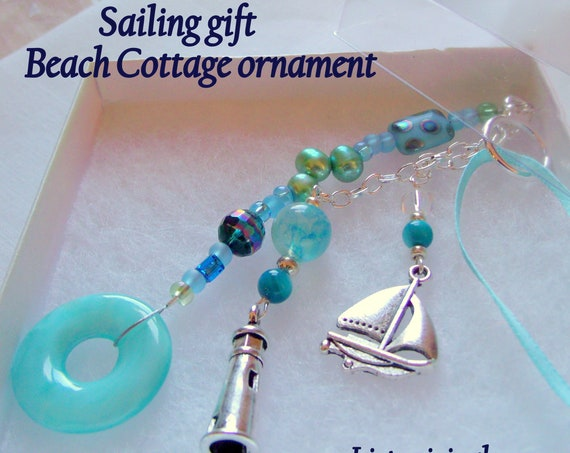 Custom sailboat Gift - Sailing home ornaments - aqua lighthouse charm - life ring -  tassel style - cottage  by the sea - nautical token