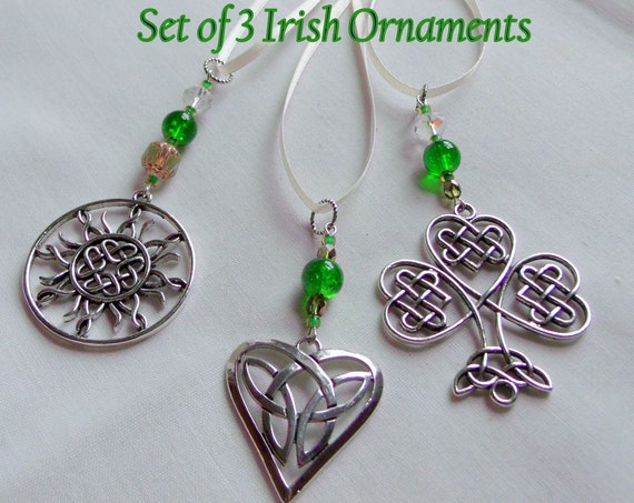 Set of 3 Irish ornaments - St Patricks day gifts - Celtic good luck charms - green filigree shamrock  - sun - sweetheart -  Boston Irish