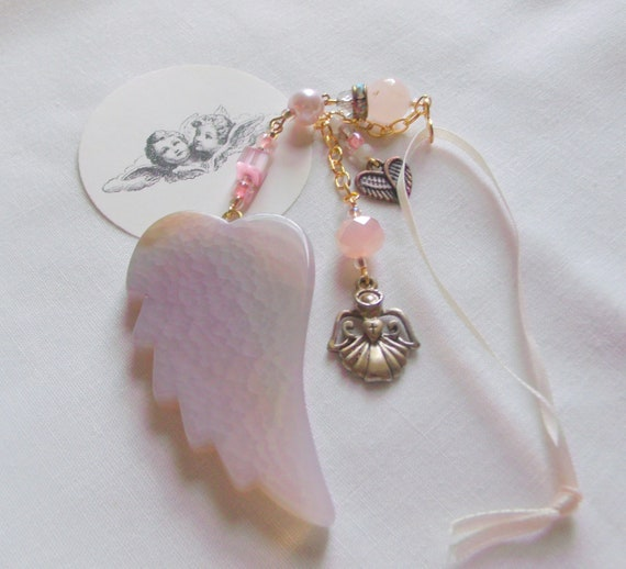 Loss of baby girl gift - grieving memento - car charm - window pendant - agate wing - gold angel charm - always in my heart - funeral memory