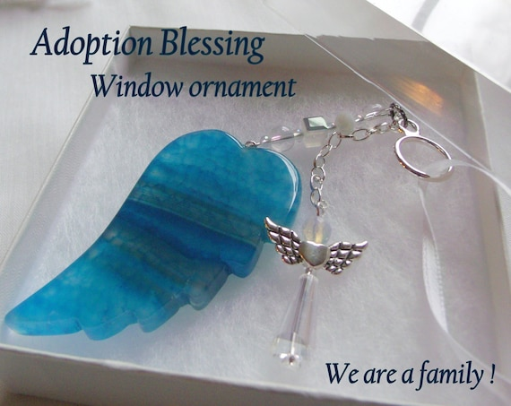 Custom Adoption Gift - blended family -  Window agate ornament - aqua wings - foster care - angel blessing - celebration - child adoption