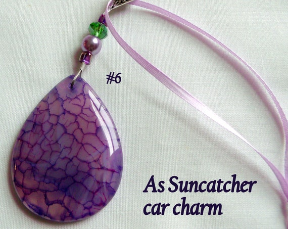 Healing stone gift - against Stigma - agate crystal necklace - OCD - PTSD -  pocket stone - fidget car charm - sun catcher - anxiety help