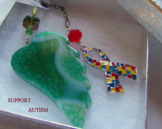 Autism gift - Puzzle ribbon charm - Autism awareness - Autism Mom - personalized autism gift - autism memory gift  - green gem wing for car