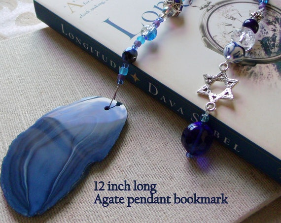 Jewish Gift for the family -  Gemstone bookmark - Judaic gift - Star of David - blue geode stone  - Jewish holiday - Stand for Israel token