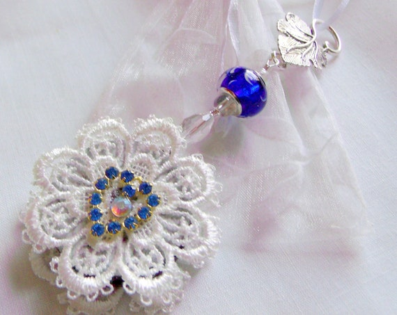 Something blue wedding gift - lace bridal ornament - maid of honor gift - glitz heart charms - for outdoor weddings - cottage chic design