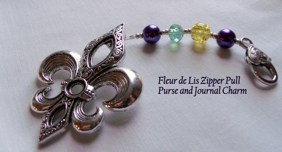 Fleur de Lis Mardi Gras ornament - Southern fleur purse clip - charm - deep south - Mardi gras gift - Louisiana - Fat tuesday - zipper pull