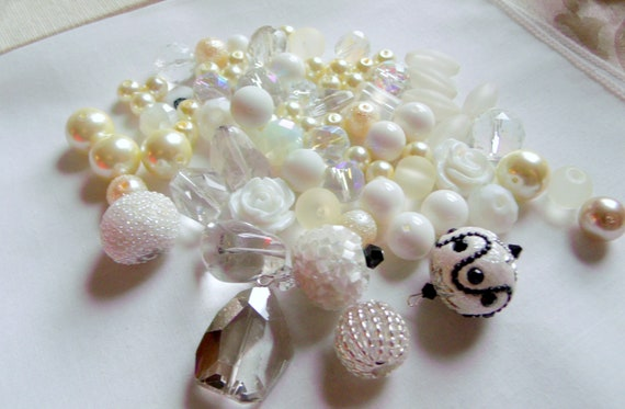 Large white glass bead grab bag - large mix - white flower beads - clear crystals - pearl - black seed bead  - for crafting - jewelry making