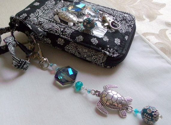 Sea turtle bag charm - large planner clip - backpack - nature and aquarium - silver turtle - large aqua crystal turtle gift - swivel clasp