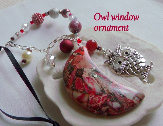 Owl and moon window ornament - red gemstone moon pendant - car charm - wall decor - hanging crescent moon - fantasy gift - Lizporiginals