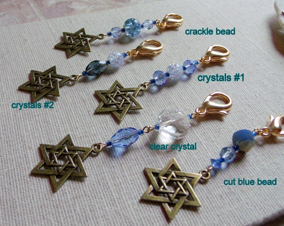 Hanukkah gift - Judaica - Star of david zipper pull - Bar and bat mitzvah party favors  - Travel journal charm - bronze  Star of David