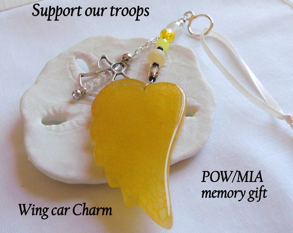 Support our troops - MIA/POW memento - yellow wing car charm - Military spouse gift - Army - Air Force - Special Forces - Overseas Awareness