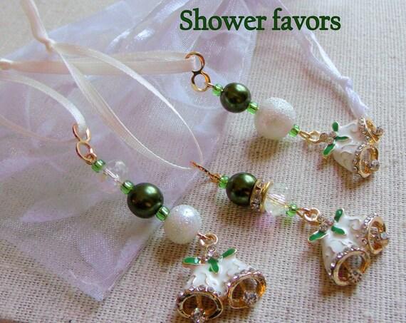 Irish wedding decor - Green Bell of Ireland gift - Elegant wedding bell charms - bell bridal favors - pearl cottage chic - white zipper pull