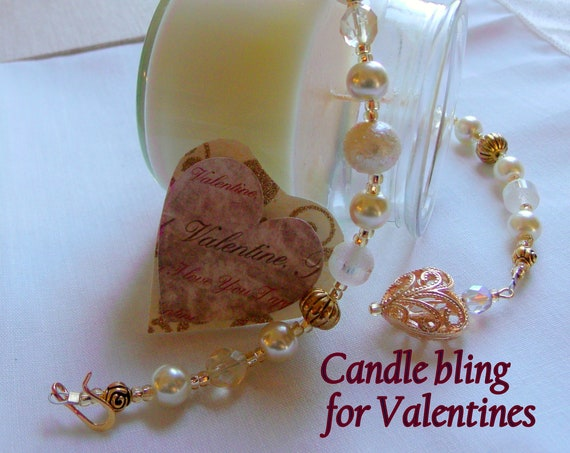 Elegant pearl candle ring - gold beige beaded wrap - valentine's day - Mothers day gift - filigree gold hearts  - Pillar candle home decor