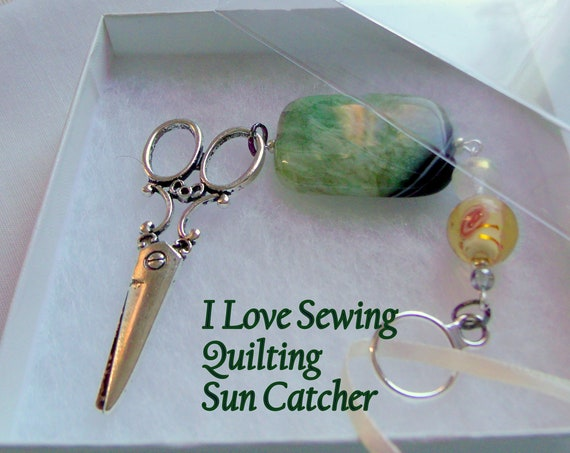I love quilting gift - green agate sun catcher - sewing room decor - large scissor charm - sewing group gift - quilting bee - yellow rose