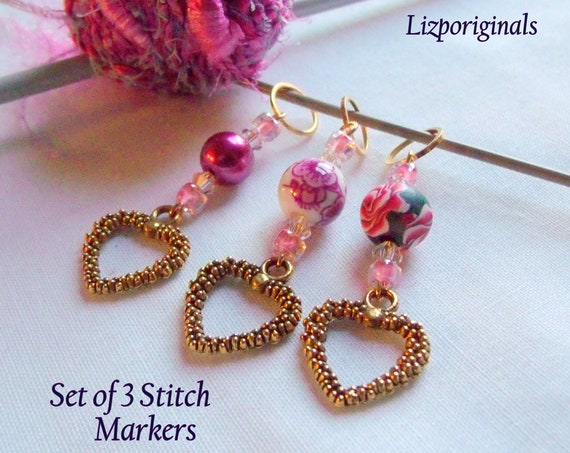 Set of 3 heart stitch markers - place finders - crochet - openwork gold charms - cottage  flower beads - pink knitting gift - polymer clay