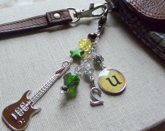 Guitar zipper pull - Rock band memento - Electric pick keepsake - green clip on tour charm - U2 - Irish Tour - Journal - tote - Wristlet