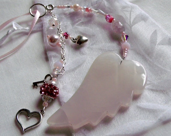 Mothers day gift ideas - custom angel wing - for mom from kids - beloved wife - stepmother - expectant mom Gift -  car charm - pink heart