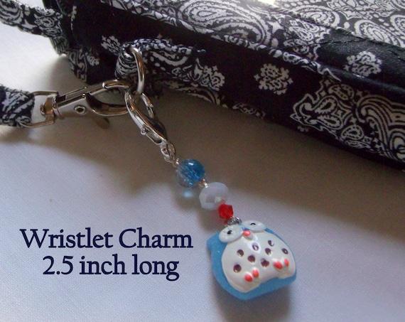 Owl zipper pulls - aqua  night bird charms -  journal /planner/back to school gift - beaded zipper pull - purse clip - 3 inch long - tote