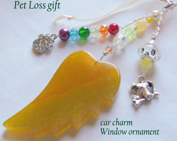 Pet loss gift - yellow angel wing - agate pendant - Dog Sympathy gift - memento - pet memorial - rainbow bridge charm - gift box set