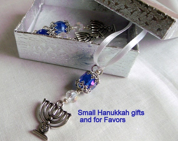 Set of 3 Menorah gift set - judaica  party favors - Hanukkah charm - ornaments -  blue gift - Jewish holidays - decorations for home