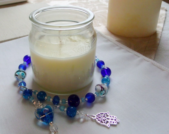 13 inch cobalt blue  candle ring - beaded candle wrap - Hamsa hand - Hanukkah  candle bling - pillar candle garland - candle accessory