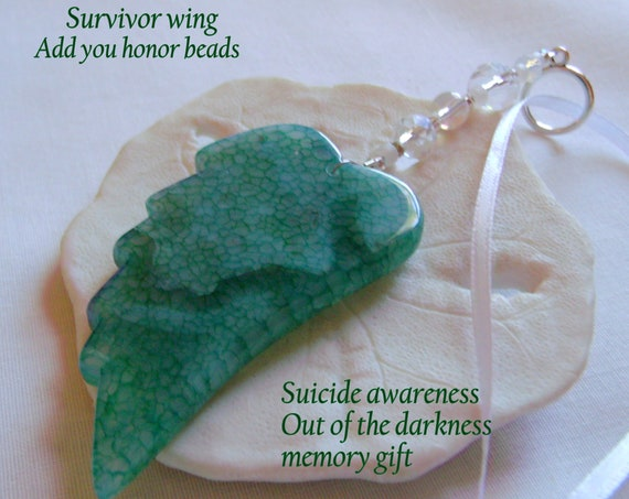 Suicide awareness - prevention - Out of the darkness walk - angel wing Ornament - agate car charm - Survivor beads - green wings for hope