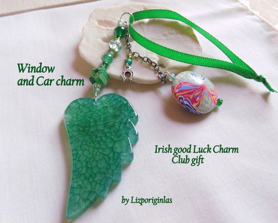 Good luck gift - green angel wing charm - window and car ornament - rainbow bead - St Patrick's day gift - Irish club - horse shoe charm