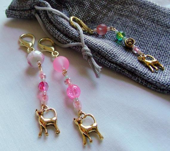 Cat zipper pulls - Gold cat  charm   cat lover gift  - pet -  journal - tote accessory - green pink colors -  teen girl gift - LizPOriginals