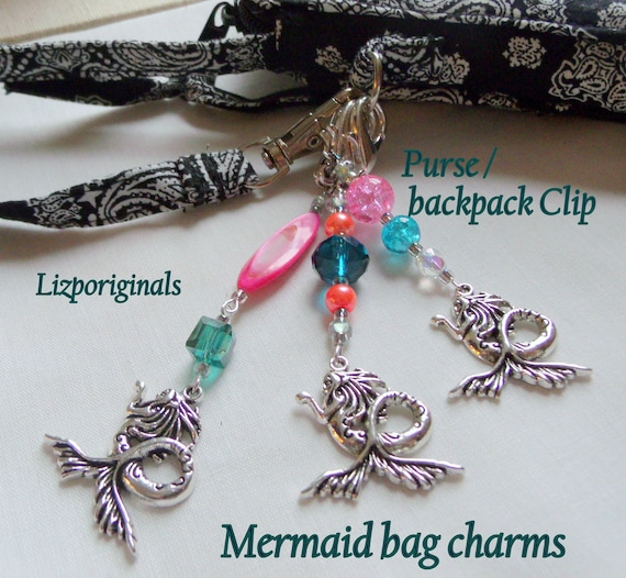 Mermaid bag charms - for little mermaid's birthday party - girly gifts - fairy tale party favors - pink planner charms -  aqua zipper pull