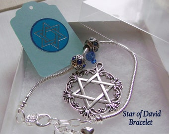 3e96585df Jewish Mom Gift - Silver Star of David charm Bracelet - 7 inch with  adjuster chain - blue judaica memento - Stand for Israel - Mothers day
