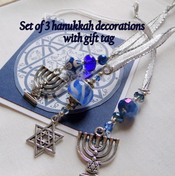 Star of David  charms - Passover hostess gift -  set of 3 - Hanukkah ornaments -  festive decorations - blue wine accents - Jewish wedding