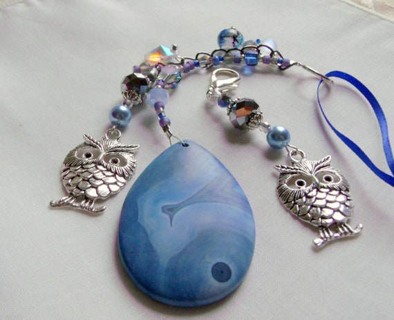 Blue owl charm sun catcher - blue agate teardrop - I love owls gift set - window ornament - owlishly cute - for lovers of owls - night time