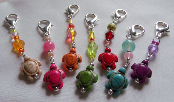 Bright assorted Howlite turtle bead journal zipper pulls, sea turtle bead, mix and match charms, sea life, teen gift, tote-basket-planner