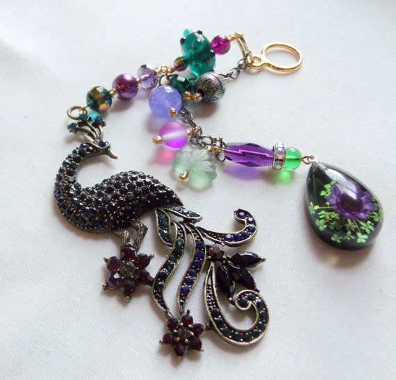 Peacock sun catcher - window pendant - purple kitchen decor - rhinestone teal peacock - car charm - exotic bird - beaded bird decorations
