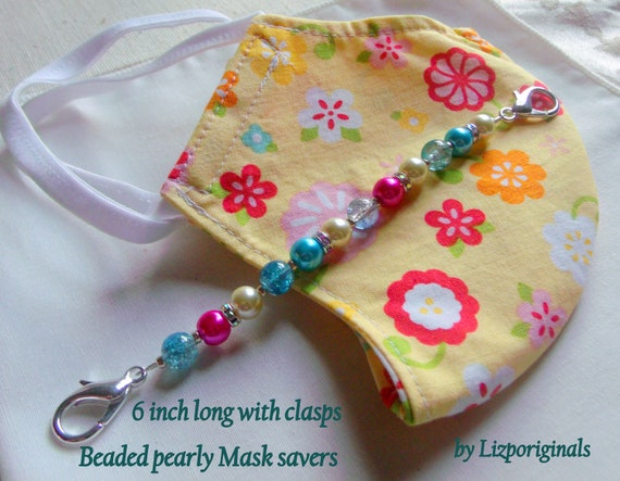 Stylish ear saver - pink pearl clips - mask savers - mask extenders - blue nurse gift - front line workers - health care mask accessory