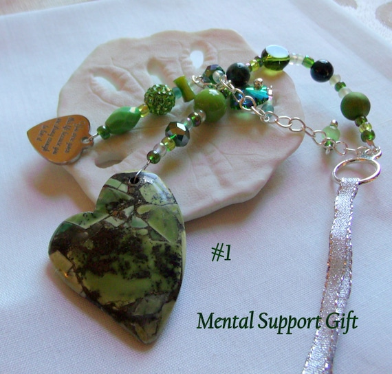 Green gem heart sun catcher - mental health gift - green is for hope - green heart traditions - window ornament - car charm - support OCD