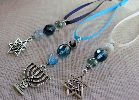 Hanukkah ornaments - small gift  set - teal crystals - hanging home decor - star of David - set of 3 - Menorah Jewish design - Lizporiginals